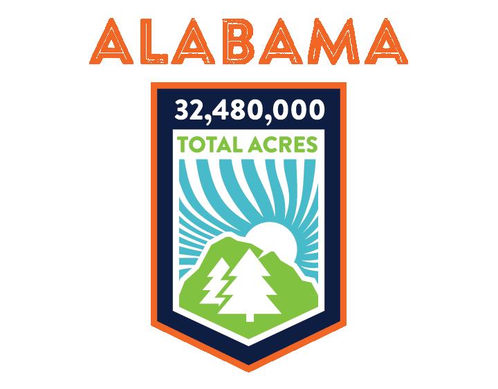 Total acres of land in Alabama, AL, USA.