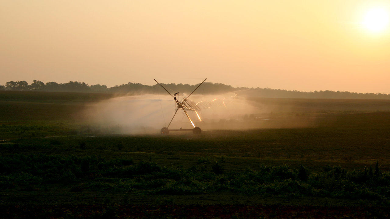 Irrigation pivot system, spraying water on an Alabama farm field in the morning sun.