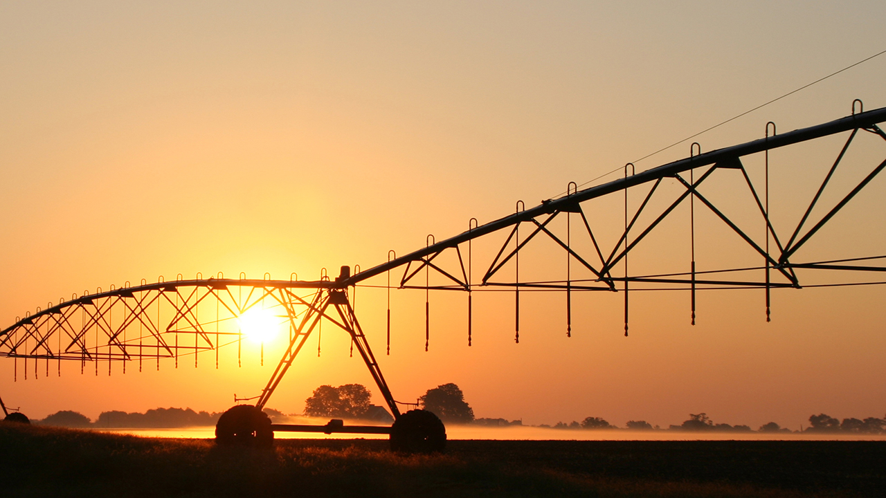 Irrigation water system at sunrise on a southern farm.