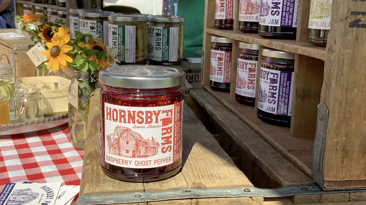 Hornsby Farms, Jam Labeled Southern Glass Jars, Specialty Crop Branding, Auburn, Alabama