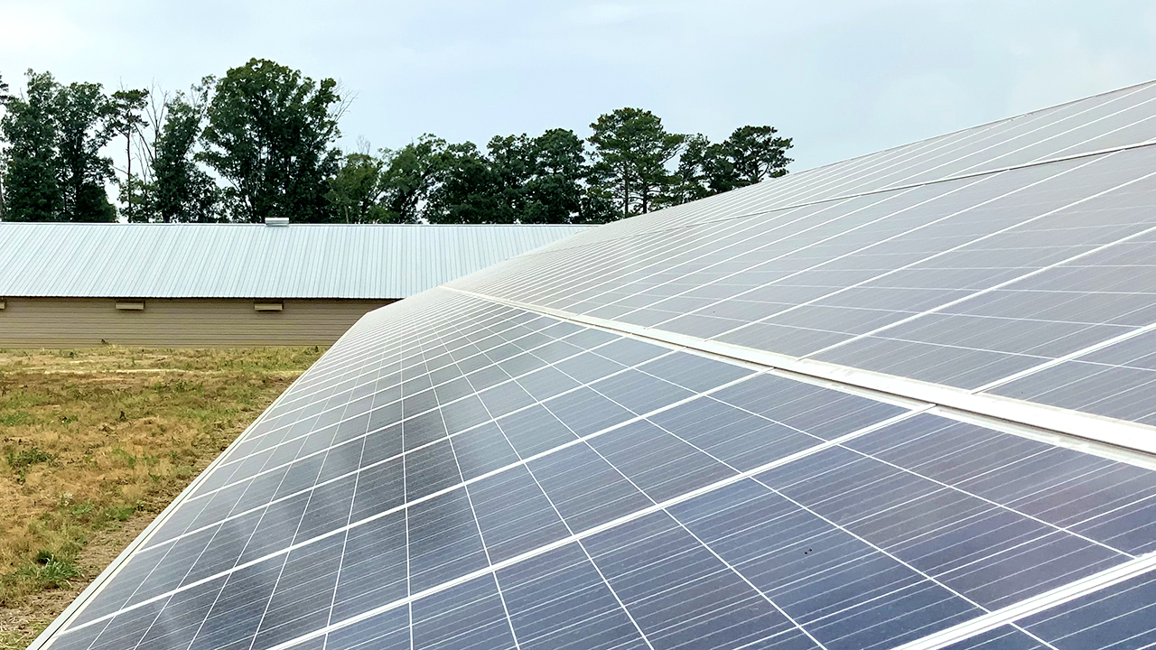 Tyson Foods and Auburn solar panels powering a poultry house in Alabama