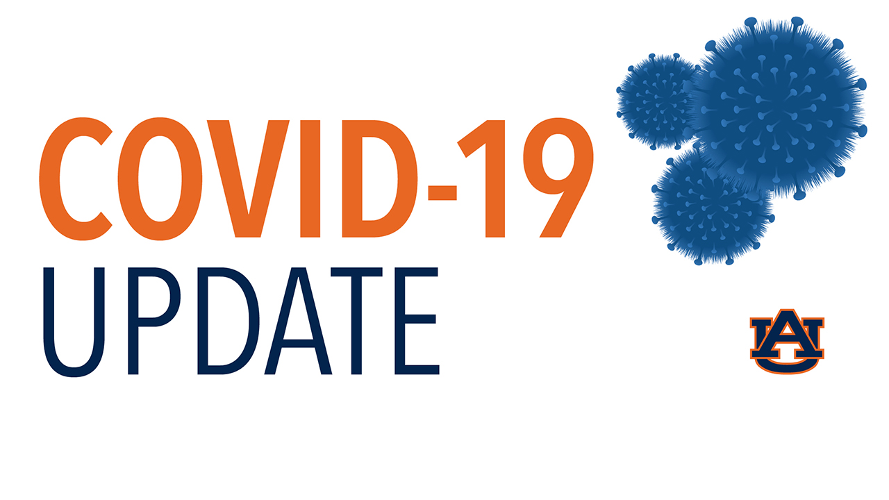 COVID-19 Virus Update graphic with AU logo in lower right corner