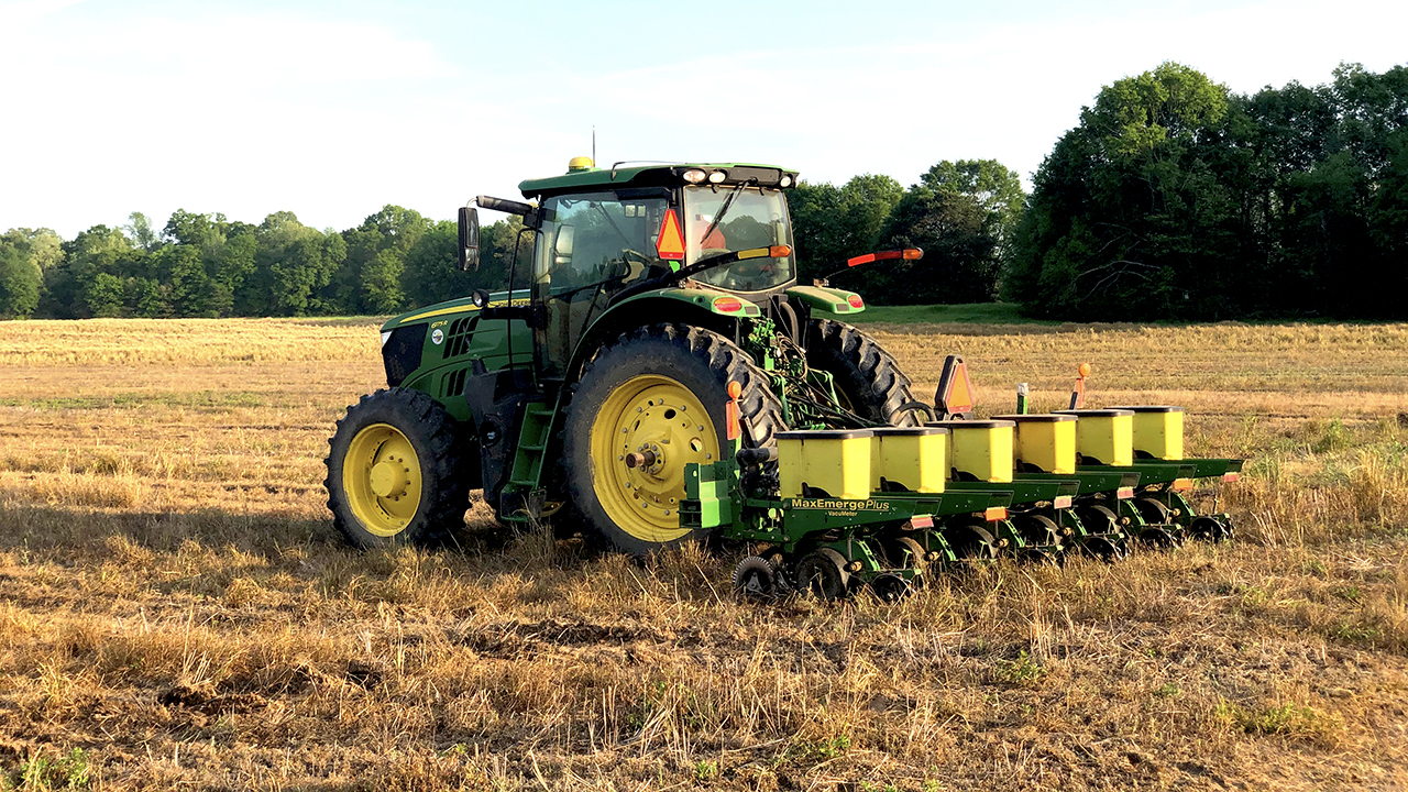 Corn planting continued on schedule this spring at the E.V. Smith Research Center in Shorter, Alabama.