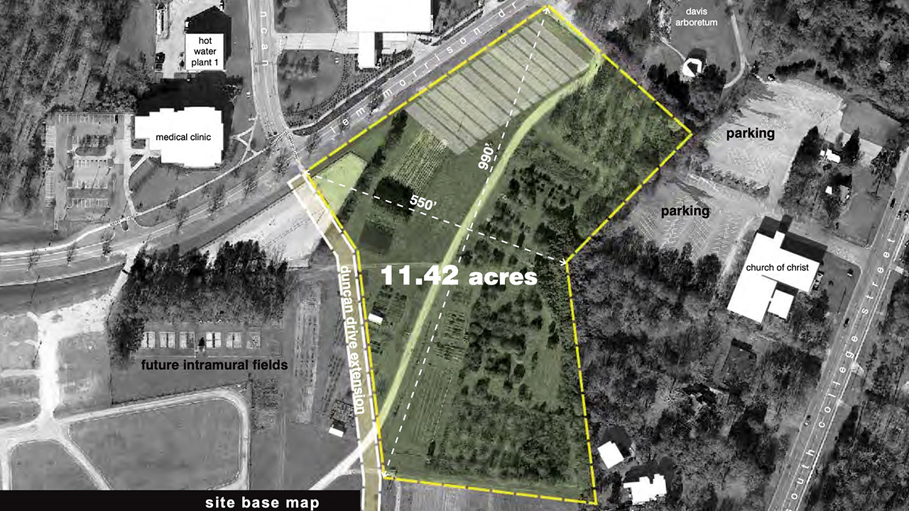 An arial photo highlights the tract of land that will soon be home to a Transformation Garden at Auburn University, Alabama, for the College of Agriculture