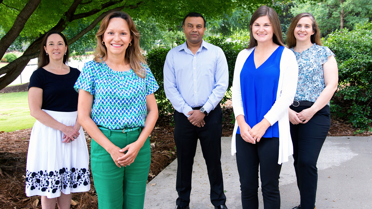 From left to right are Michelle Worosz, Brenda Ortiz, Rishi Prasad, Audrey Gamble and Leah Duzy, who will all be working on the NRCS Innovation Grant.