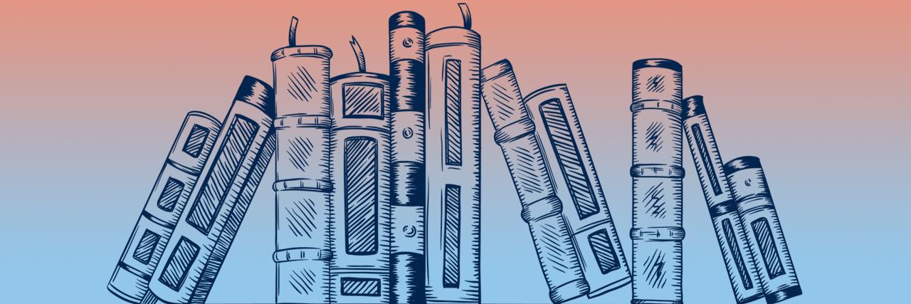 Illustration vector of Books spines on a shelf.
