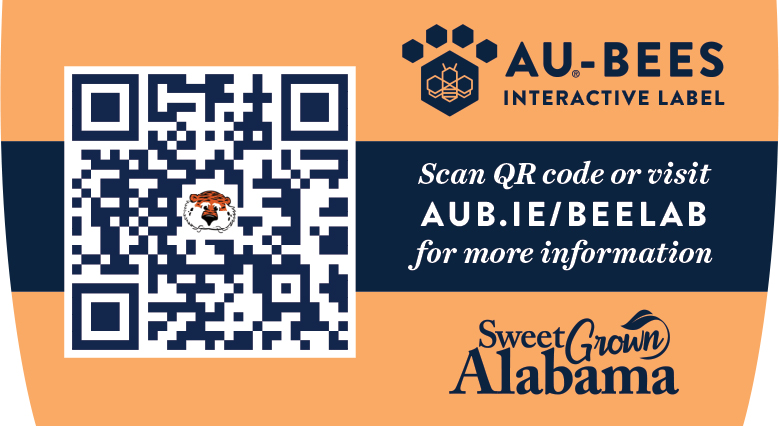 AU Bees label with QR code and URL for more information