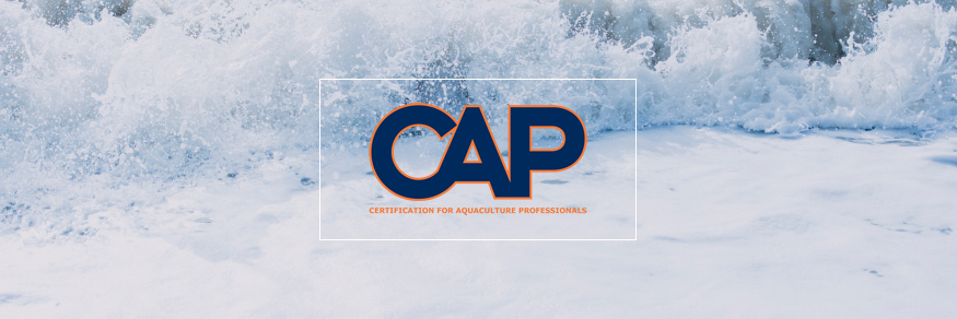 Certification for Aquaculture Professionals (CAP) Logo in front of breaking ocean waves on a beach