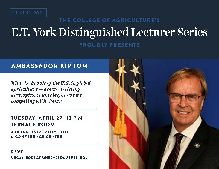 E.T. York Distinguished Lecturer Series to feature Ambassador Kip Tom