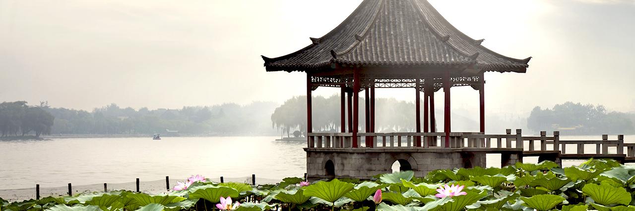 Lake at China's summer palace in the morning sunlight.