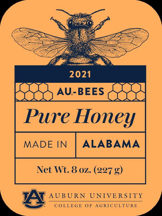 AU-Bees, Pure Honey Label, 8oz, Auburn University, College of Agriculture, Alabama, USA 2021