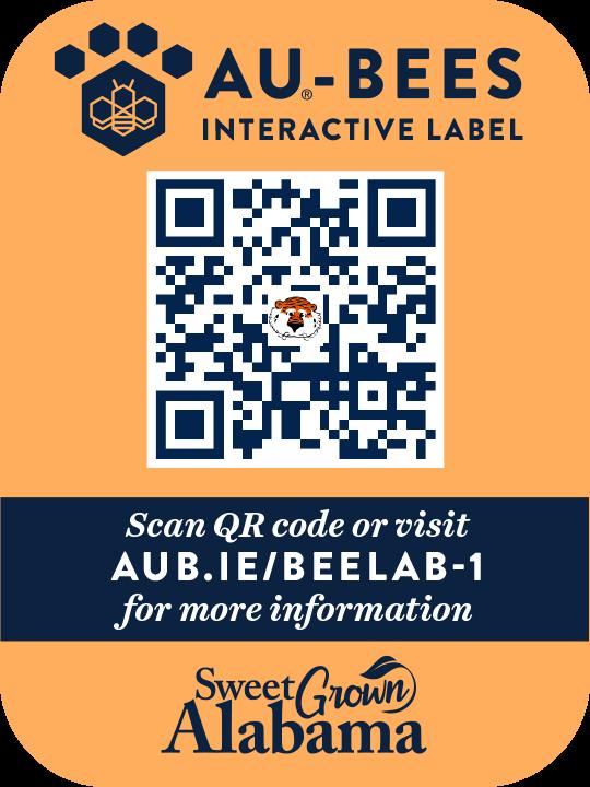 AU-Bees, Auburn University, Honey Interactive Label, Alabama, USA, 8oz, Bee Lab Yard-1, 2021