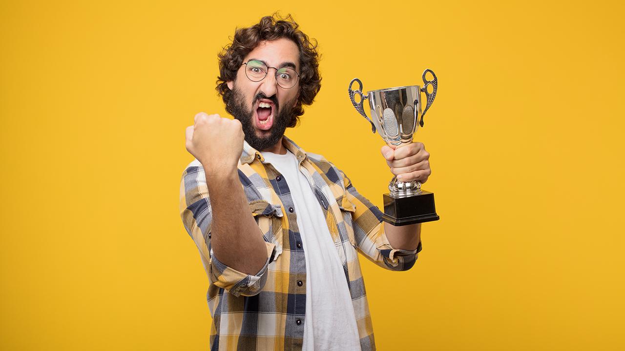Faculty Staff Awards, Auburn, Alabama, COA & AAES, Crazy Funny man bro holding a Trophy, wearing plaid shirt